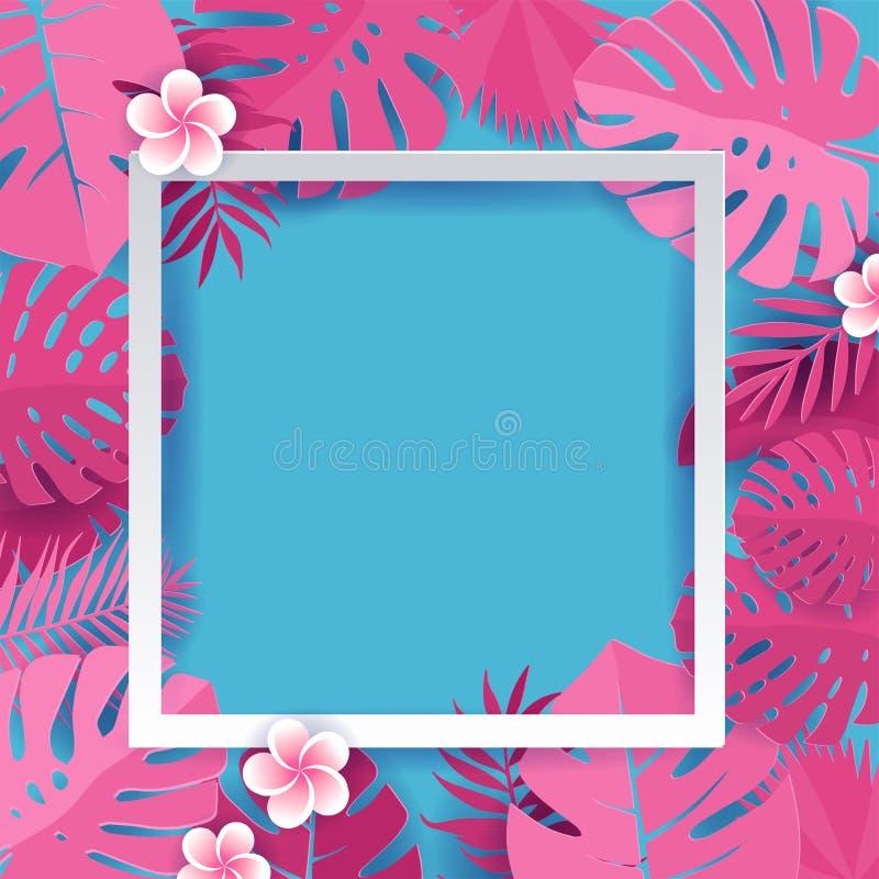Листья пинка ладони ультрамодного лета тропические с белым квадратным дизайном вектора рамки Бумажная отрезанная рамка от monster иллюстрация штока