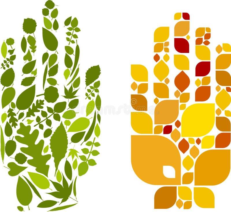 листья руки иллюстрация вектора