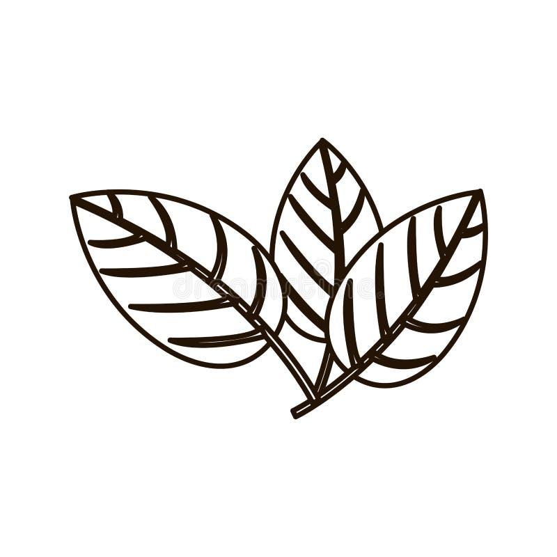 Листья силуэта 3 с степенями последствий иллюстрация штока