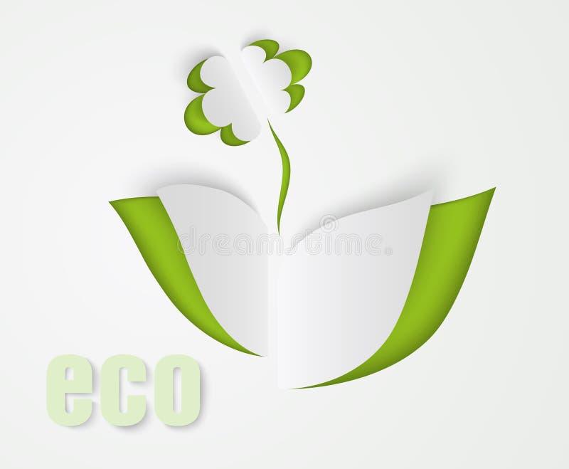 Листья цветка и зеленого цвета бумаги иллюстрация штока