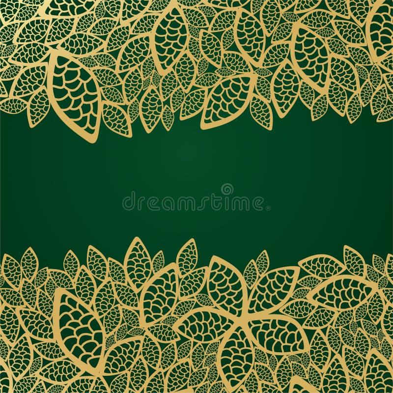 Download листья шнурка предпосылки золотистые зеленые Иллюстрация вектора - иллюстрации насчитывающей листво, шнурок: 17608916