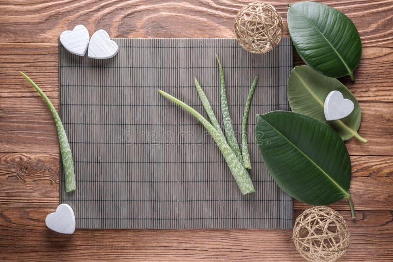 Листья vera алоэ на деревянном столе стоковая фотография rf