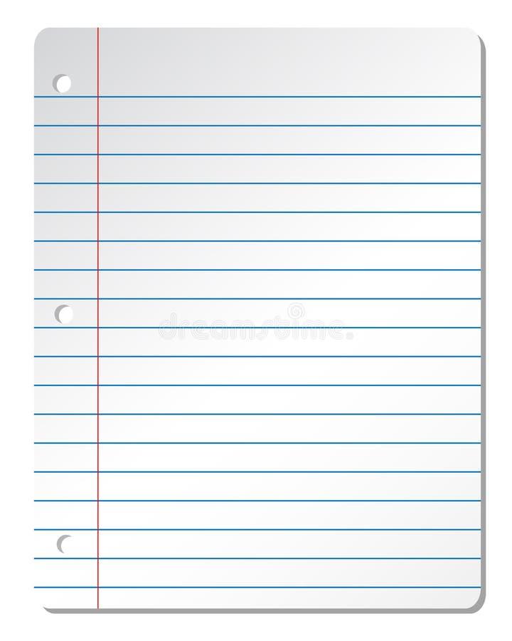 Лист белой бумаги от тетради с голубыми линиями на белой предпосылке иллюстрация вектора
