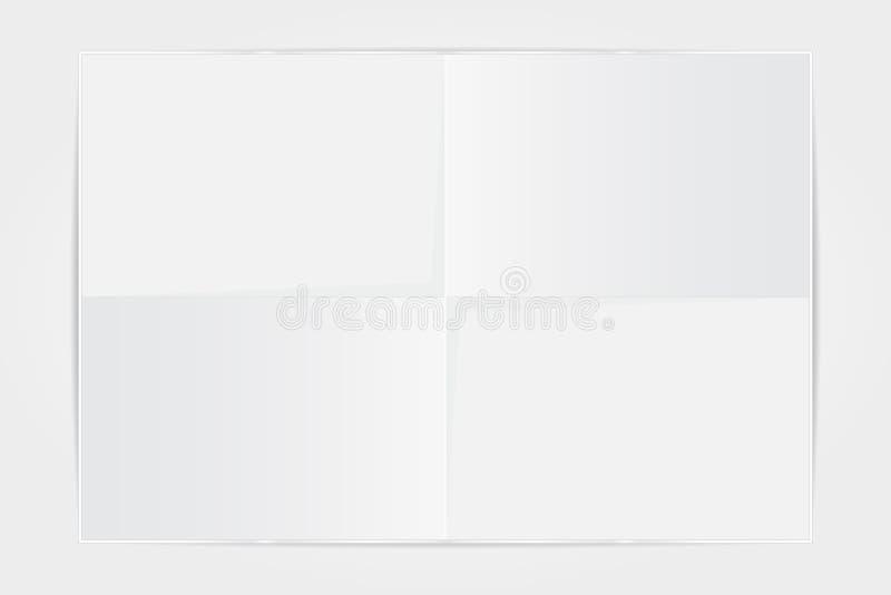 Лист бумаги шаблона белый сложил в 4 на белом backgrou иллюстрация вектора