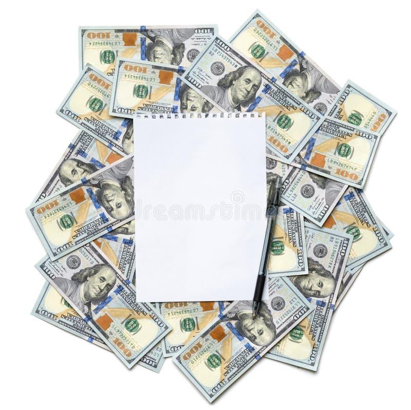 Лист бумаги для примечаний с ручкой стоковое фото rf