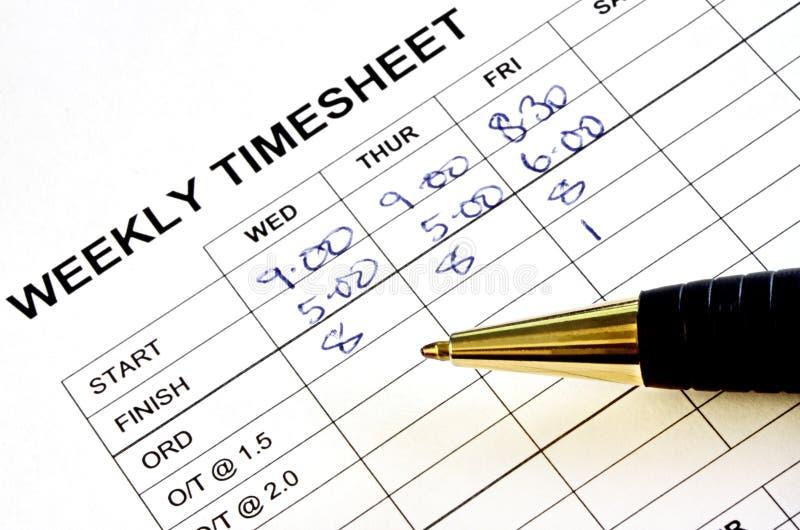 лист для отметки рабочего времени еженедельный стоковые изображения rf