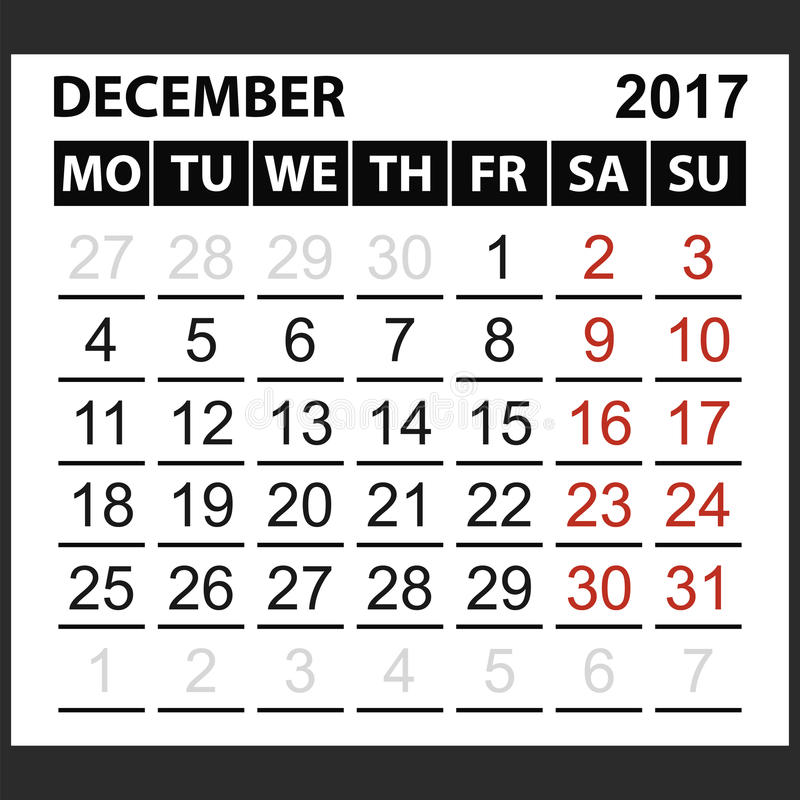 Лист декабрь 2017 календаря бесплатная иллюстрация