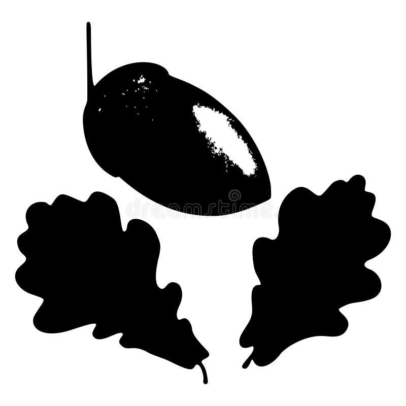 Лист, жолудь и ветвь дуба изолировали силуэт, экологичность стилизованную иллюстрация вектора