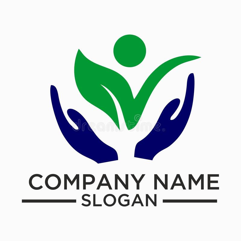Лист, завод, логотип, экологичность, люди, здоровье, зеленый цвет, листья, комплект значка символа природы вектора конструируют иллюстрация вектора