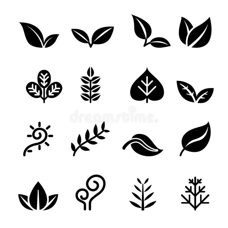 Лист, завод, трава, вегетарианец, комплект значка иллюстрация штока