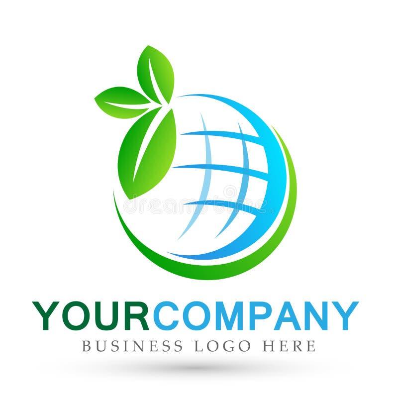 Лист земли спасения глобуса выходят людям дерева ботаники здравоохранения здоровый значок дизайна логотипа заботы о жизни на белу бесплатная иллюстрация