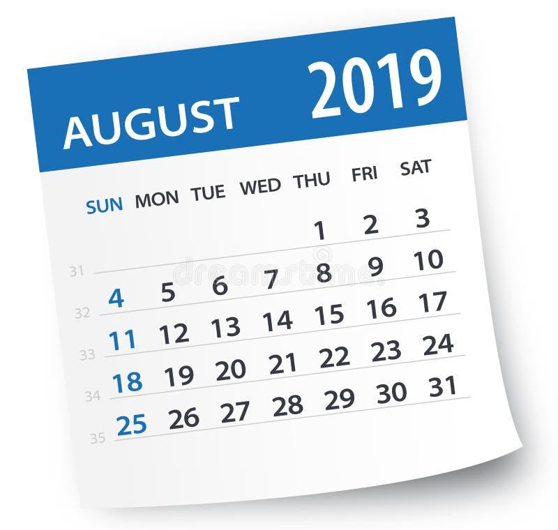 Лист календаря августа 2019 - иллюстрация вектора бесплатная иллюстрация