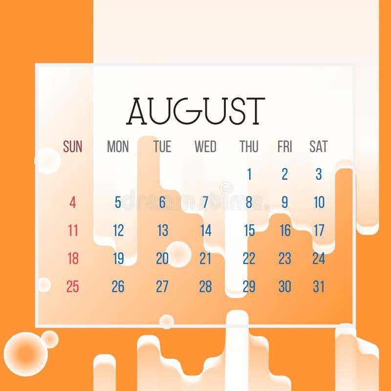 Лист календаря августа 2019 - иллюстрация Страница векторной графики с цветом предпосылки конспекта оранжевым иллюстрация вектора