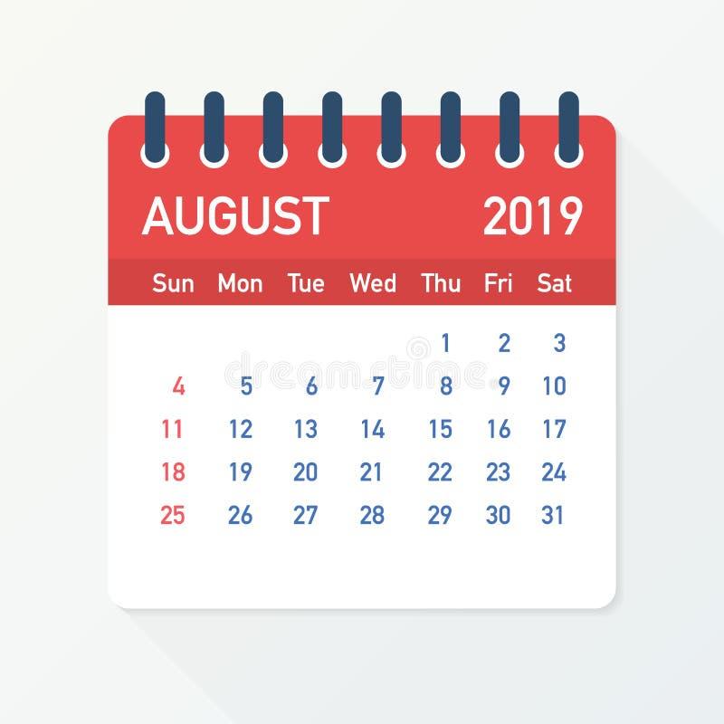 Лист календаря августа 2019 Календарь 2019 в плоском стиле также вектор иллюстрации притяжки corel бесплатная иллюстрация