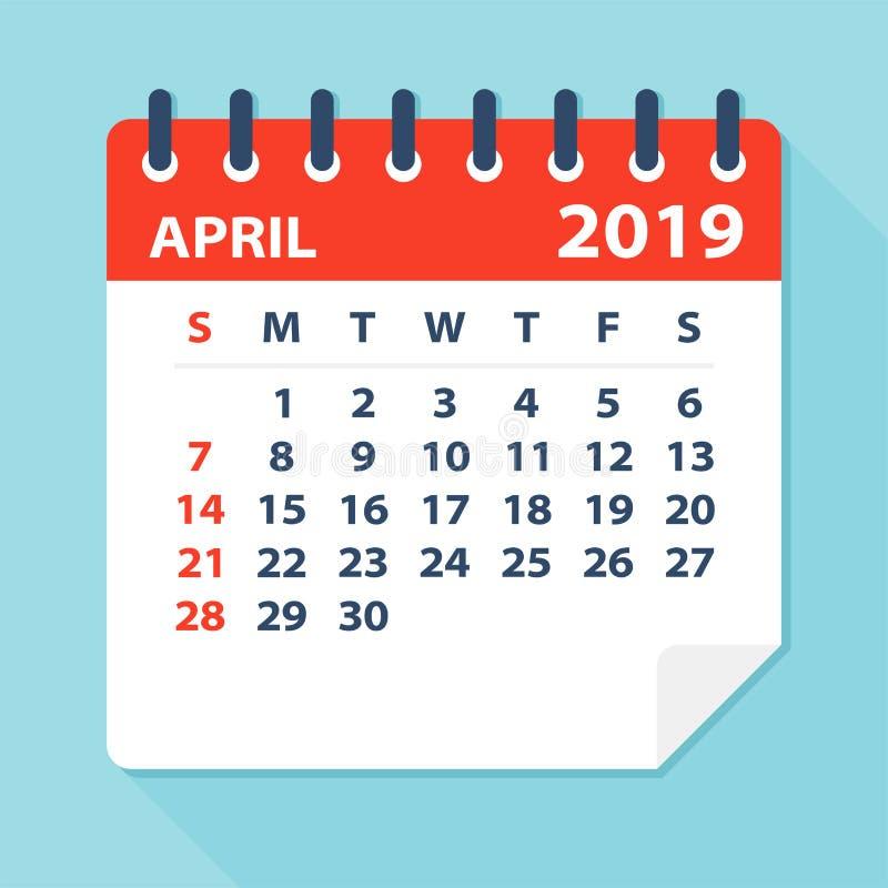 Лист календаря апреля 2019 - иллюстрация вектора иллюстрация штока