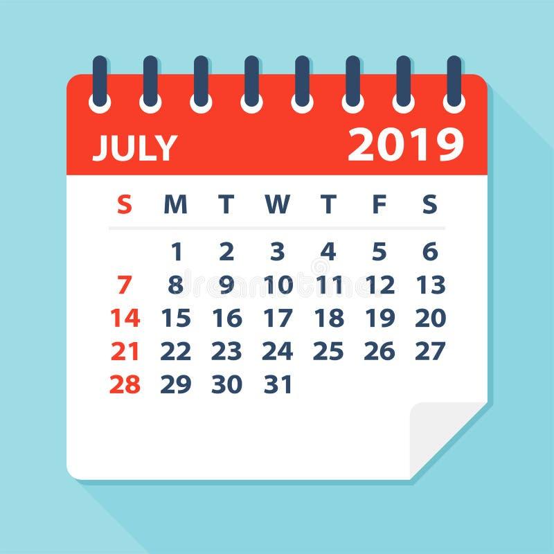 Лист календаря июля 2019 - иллюстрация вектора иллюстрация вектора