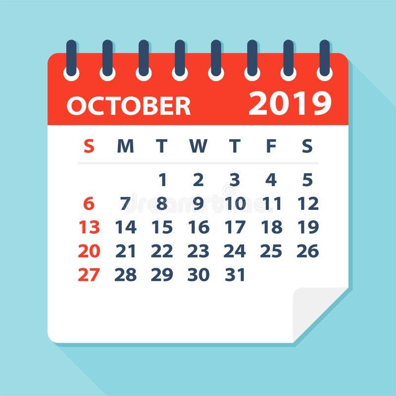 Лист календаря октября 2019 - иллюстрация вектора иллюстрация вектора