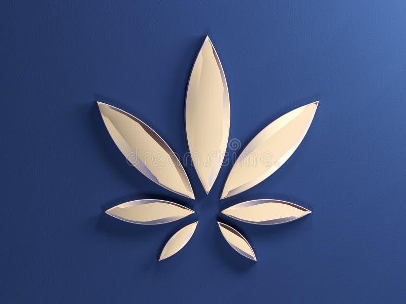 Лист конопли на голубой предпосылке Золотые стеклянные лист марихуаны E иллюстрация вектора