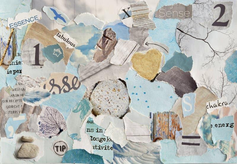 Лист коллажа доски настроения искусства атмосферы спокойного Дзэн творческий в сини aqua цветов, чеканит зеленую, серый, белизна  стоковая фотография rf