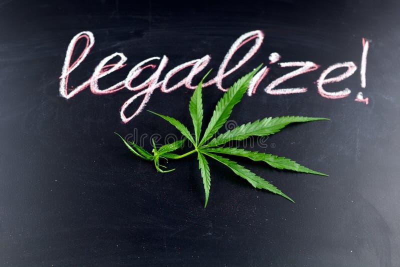 Лист марихуаны взгляд сверху с надписью узаконивают стоковые изображения rf