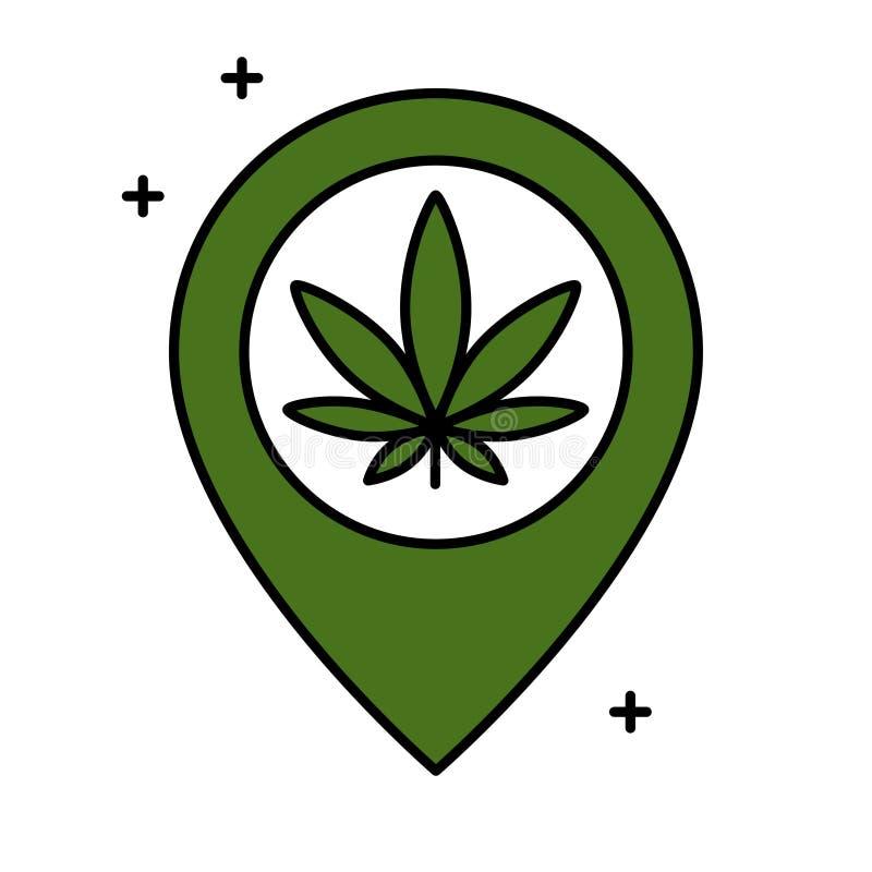 Лист марихуаны и указатель карты иллюстрация штока