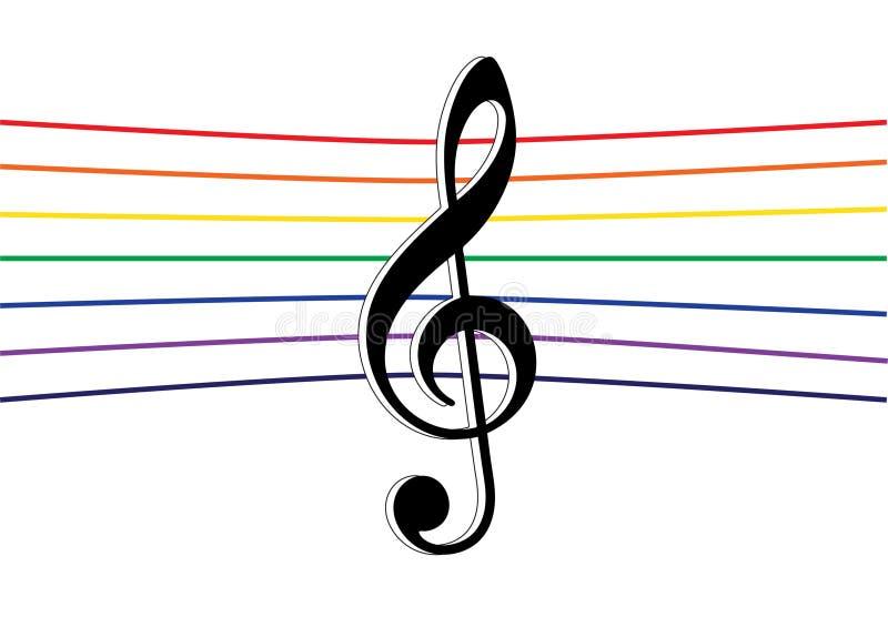 Лист музыки радуги с дискантовым ключом 2D бесплатная иллюстрация