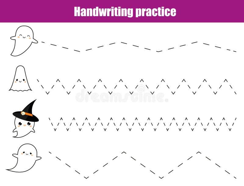 Лист практики почерка Воспитательная игра детей, printable рабочее лист для детей Сочинительство тренируя printable рабочее лист  иллюстрация штока