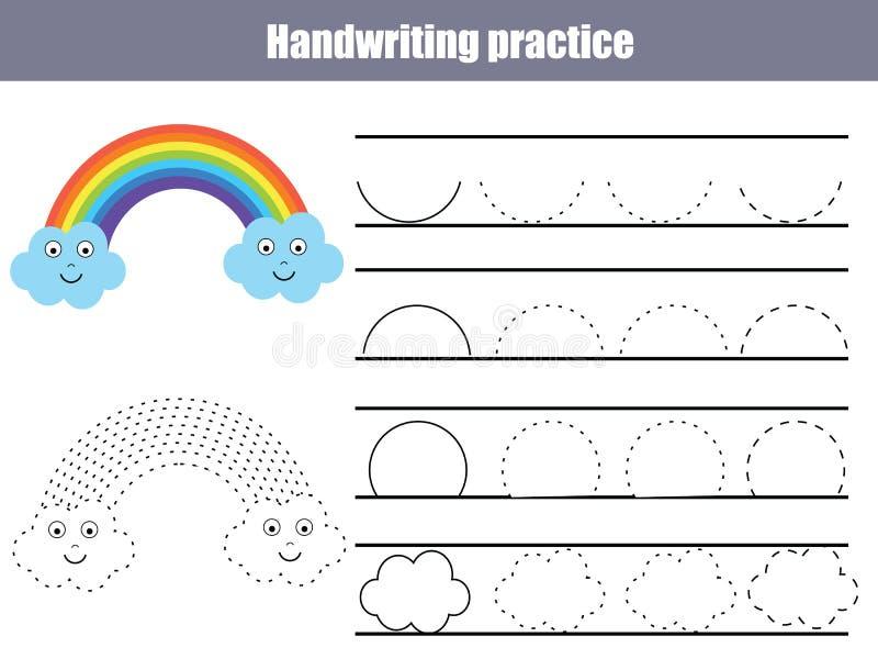 Лист практики почерка Воспитательная игра детей, printable рабочее лист для детей Сочинительство тренируя printable рабочее лист  стоковые изображения