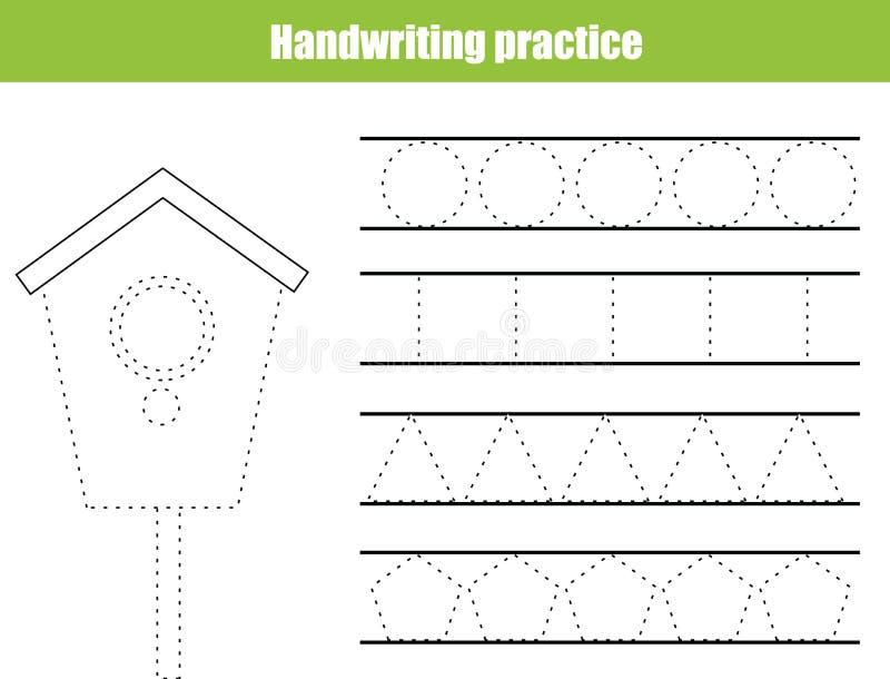 Лист практики почерка Воспитательная игра детей, printable рабочее лист для детей Сочинительство тренируя printable рабочее лист  бесплатная иллюстрация