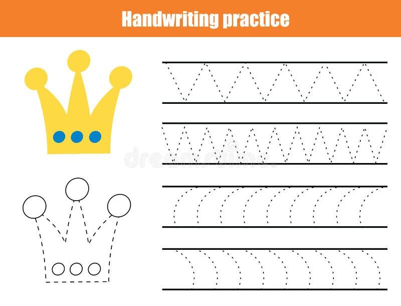 Лист практики почерка Воспитательная игра детей, printable рабочее лист для детей Сочинительство тренируя printable рабочее лист  иллюстрация вектора