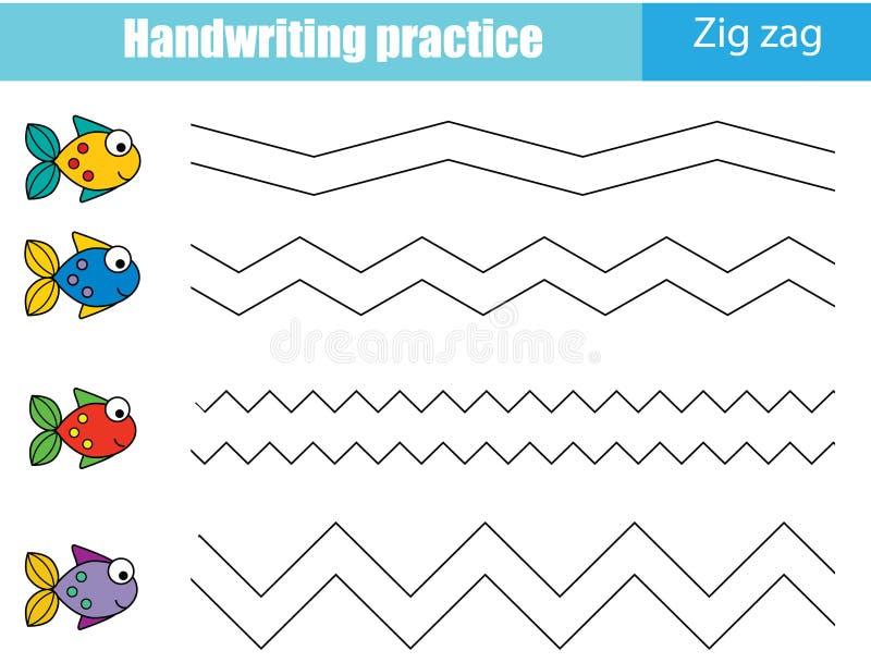 Лист практики почерка Воспитательная игра детей, printable рабочее лист для детей ЛИНИИ ЗИГЗАГА иллюстрация штока