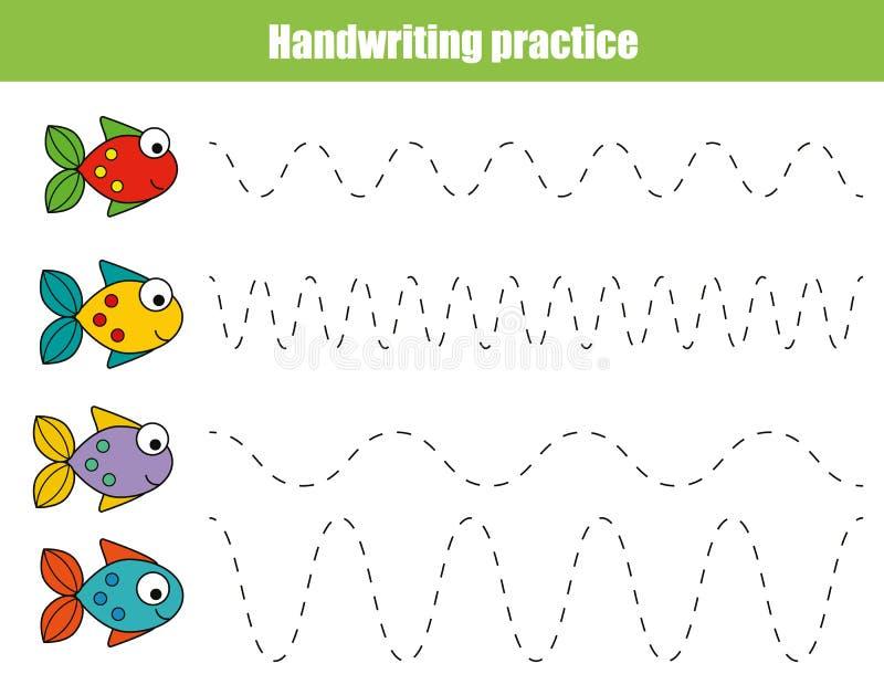 Лист практики почерка Воспитательная игра детей, printable рабочее лист для детей с волнистыми линиями и рыбы стоковое фото rf