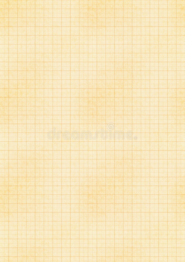 Лист размера A4 желтый старой бумаги с проектировать решетку миллиметра иллюстрация штока