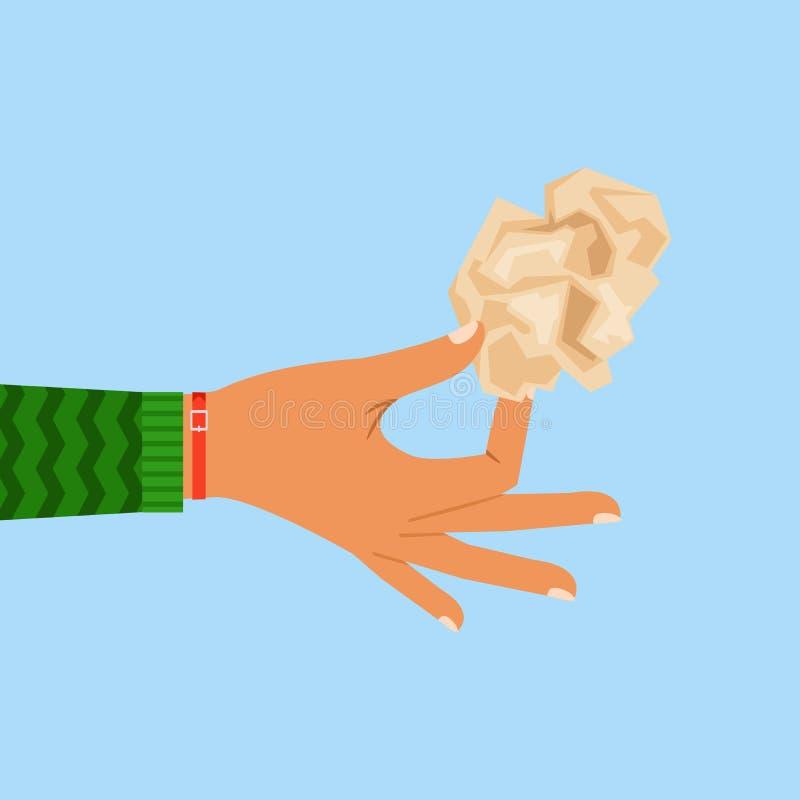 Лист руки женщины скомканный удерживанием бумажный иллюстрация вектора