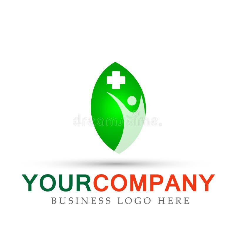 Лист сформировали знак элемента значка логотипа концепции компании природы здравоохранения людей медицинский на белой предпосылке иллюстрация вектора