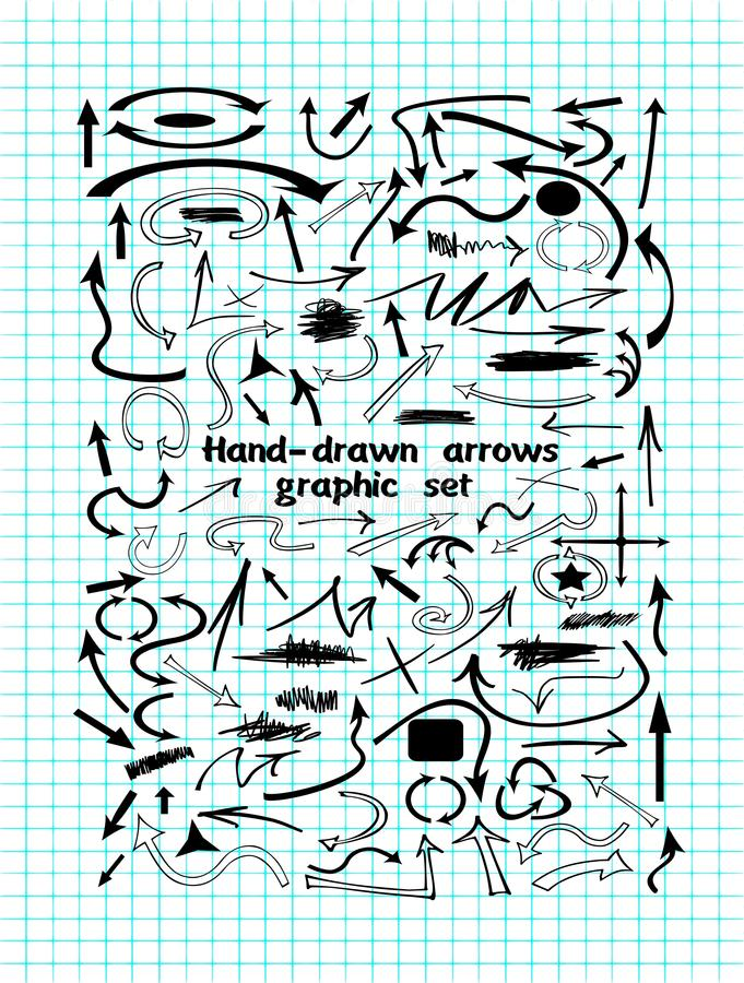 Лист тетради текстуры с нарисованными вручную стрелками иллюстрация штока