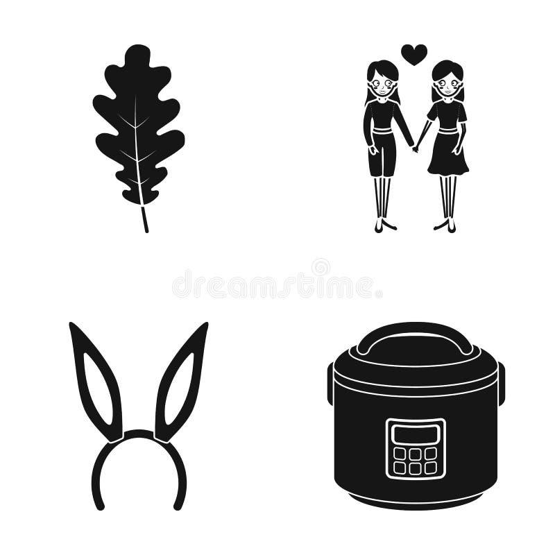 Лист дуба, однополая влюбленность и другой значок сети в черном стиле обруч с ушами, многожильными значками в собрании комплекта бесплатная иллюстрация