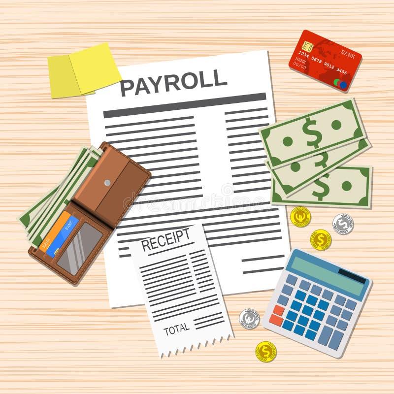 Лист фактуры зарплаты, иллюстрация штока