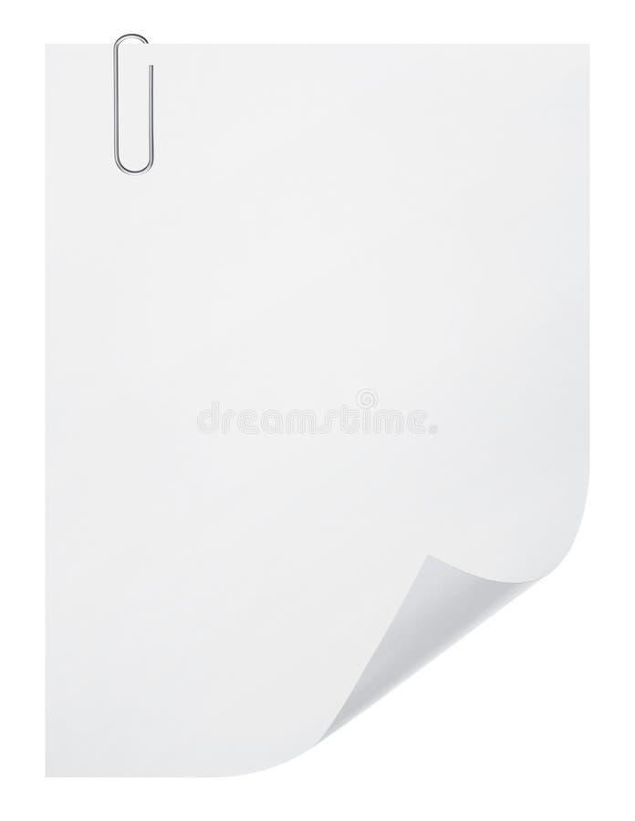 Лист чистого листа бумаги и бумажный зажим стоковое изображение