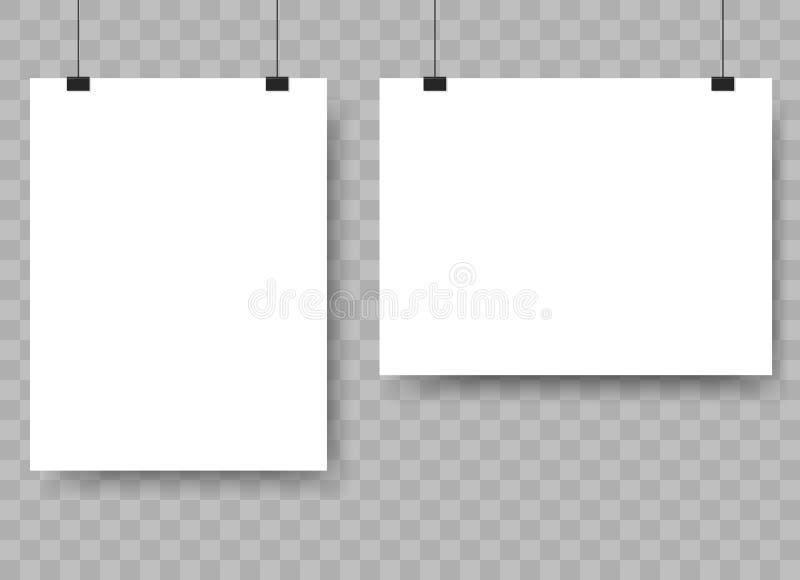 Лист чистого листа бумаги вися на связывателях Рекламировать модель-макет знамени на стене вектор иллюстрация вектора