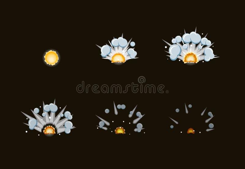 Лист для взрыва огня тумана шаржа, чернь спрайта, внезапная анимация влияния игры 8 кадров на темной предпосылке иллюстрация штока