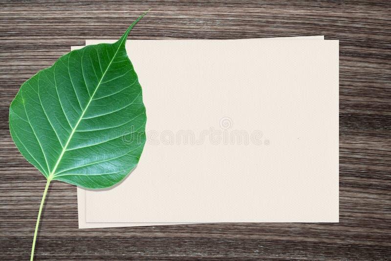 Лист Bodhi и и бумага на деревянной предпосылке стоковое изображение rf
