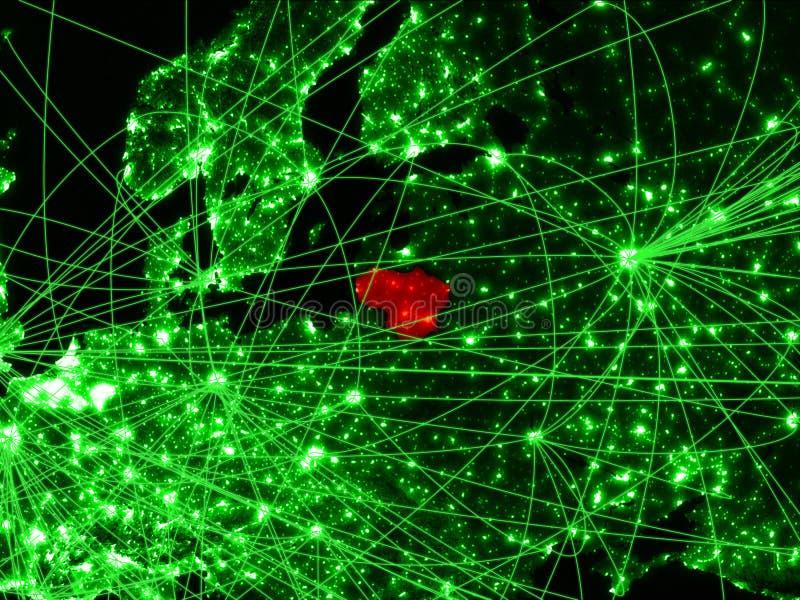 Литва на зеленой карте стоковая фотография