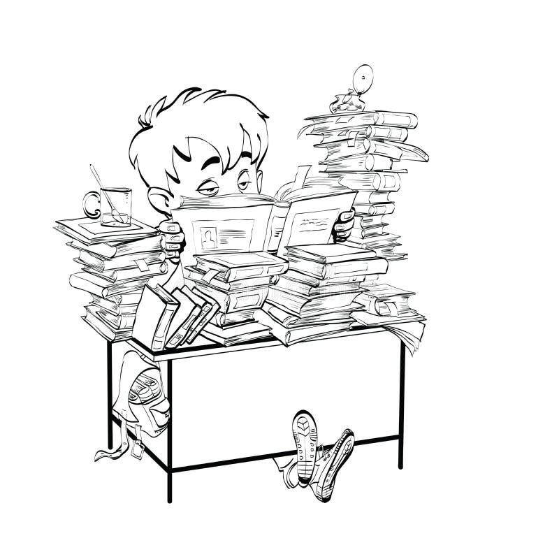 Литература, мальчик студента читает книги иллюстрация штока