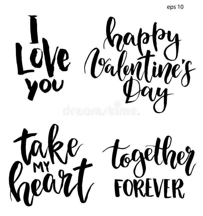 Литерность вектора на день ` s валентинки Фраза покрашенная рукой: Я тебя люблю, счастливый день ` s валентинки, принимает мое се иллюстрация вектора