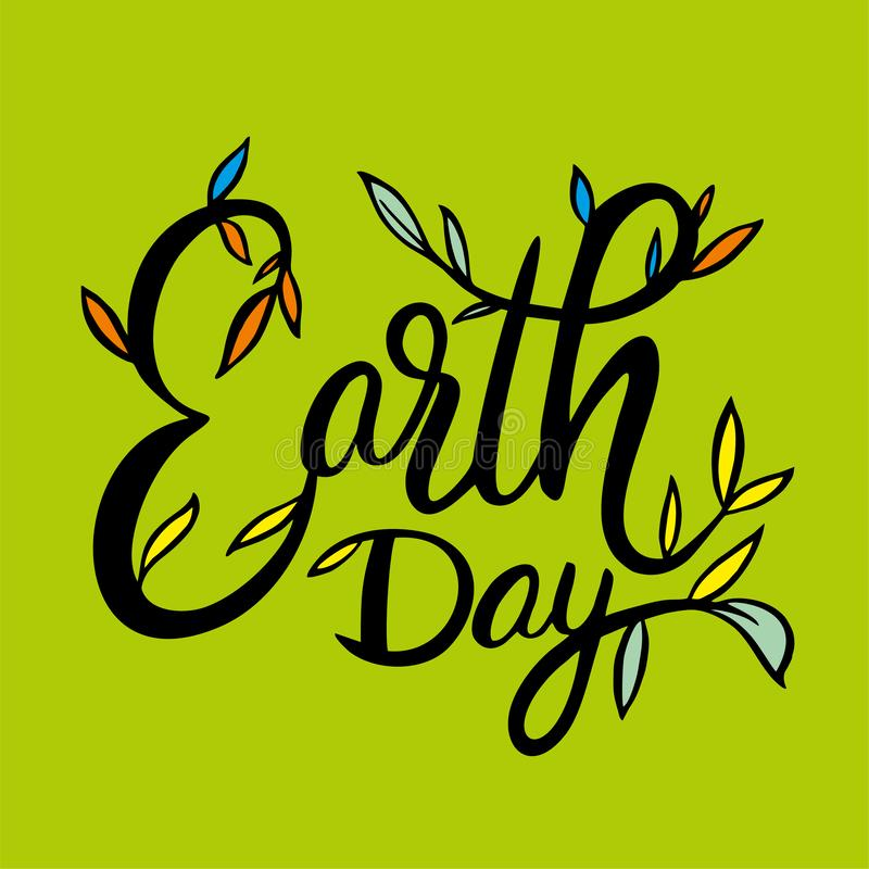 Литерность вектора руки дня земли вычерченная Изолировано на предпосылке иллюстрация штока