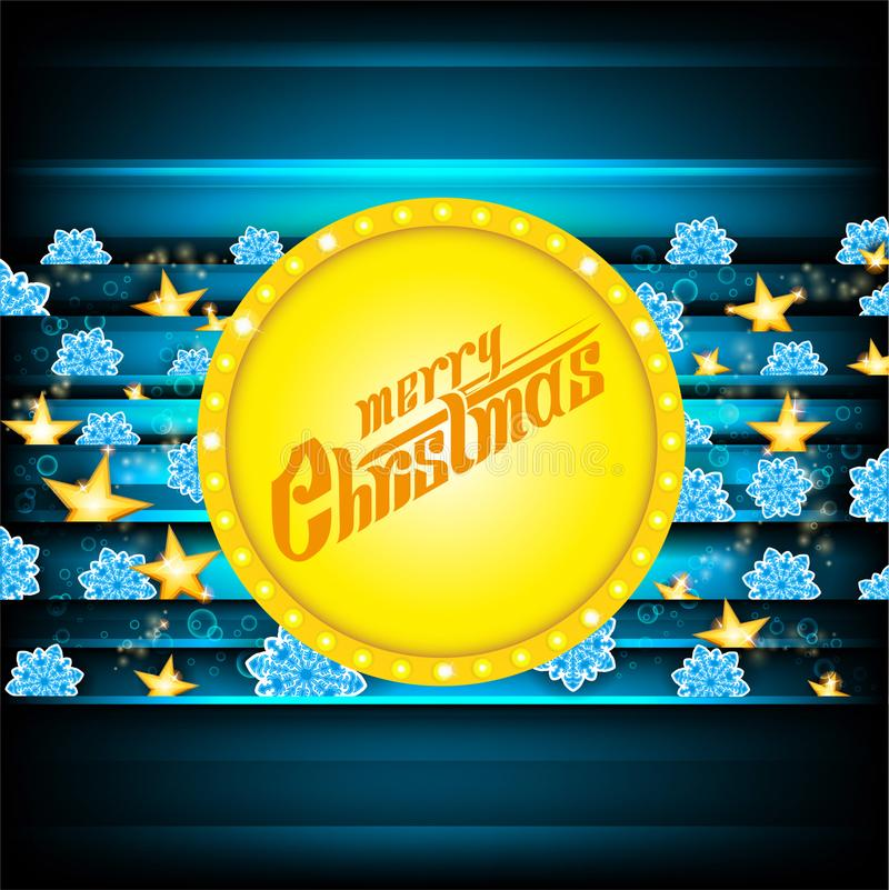 Литерность веселого рождества на желтом знамени круга и темно-синая предпосылка с голубыми снежинками и золотыми звездами Рождест иллюстрация штока