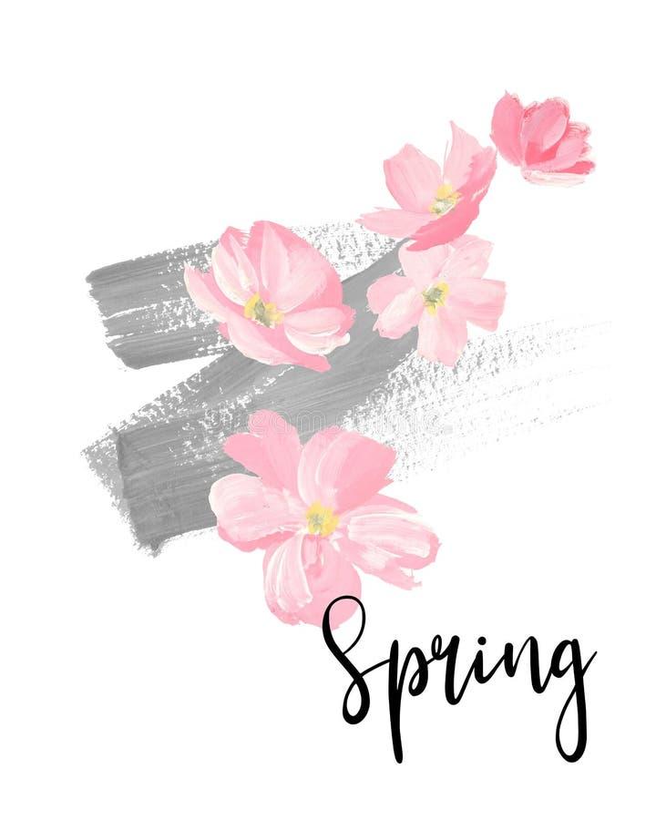 Литерность весны поздравительные открытки, знамена и карта приглашения с цветками Сакуры цветения Покрасьте розовое flowe вишнево иллюстрация вектора