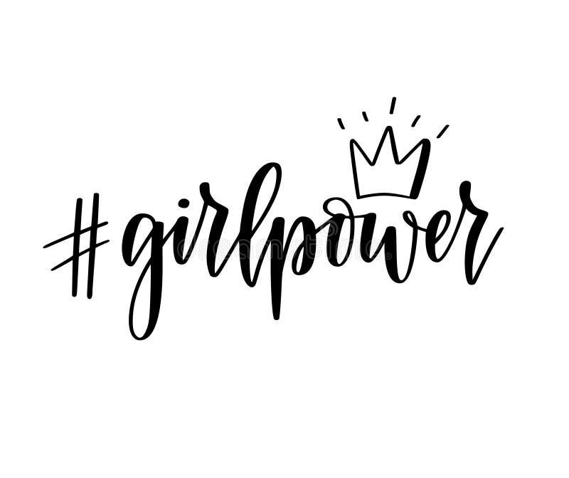 Литерность воодушевленности вектора hashtag силы девушки мотивационная феминист иллюстрация вектора