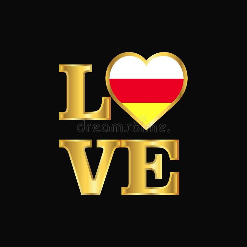 Литерность золота вектора дизайна флага Ossetia оформления любов северная иллюстрация штока